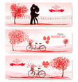 valentines day holiday banners with a heart vector image vector image