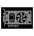 White halftone video accelerator card icon
