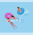 women in bikini swimsuit swimming inflatable ring vector image