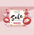 happy valentines day red lips sale banner offer vector image
