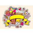 pile of sweets and ribbon on light backgr vector image
