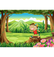 A cute little boy above the stump at the forest vector image vector image