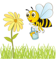 bee and flower vector image vector image