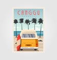canggu beach with vintage car background design vector image vector image
