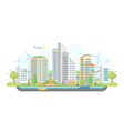 cityscape with windmills - modern flat design vector image vector image
