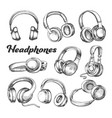 collection different sides headphones set vector image