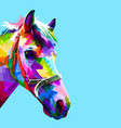 colorful horse head in geometric pattern pop art vector image vector image