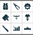 construction icons set with knife builder pliers vector image vector image