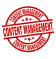 content management round red grunge stamp vector image vector image