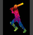 cricket player action cartoon sport graphic vector image
