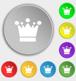 Crown icon sign Symbols on eight flat buttons vector image vector image
