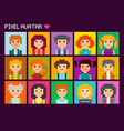 cute square pixel avatars vector image vector image