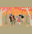enjoy fall concept happy family having fun vector image