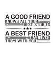 friendship quote and saying a good friend knows vector image vector image