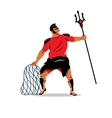 Gladiator with trident and net Cartoon vector image vector image