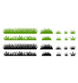 green and black grass silhouette cartoon weed vector image