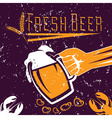 hand with a glass of beer on grunge background vector image vector image