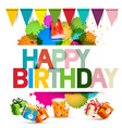 Happy Birthday with Gift Boxes Flags vector image