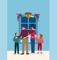 happy family in front window during winter vector image
