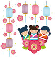 japanese girls icon vector image