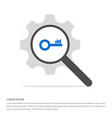 key icon search glass with gear symbol icon vector image