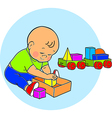 little lovely baboy playing with toys kid plays vector image