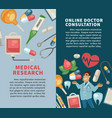 medical research and online doctor consultation vector image vector image