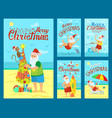 merry christmas santa claus surfing board dolphin vector image