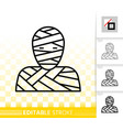 mummy mask simple black line icon vector image vector image