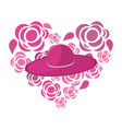 nice flowers in form heart decoration with hat vector image vector image