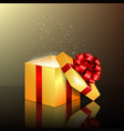 opened gift box with red ribbon vector image vector image
