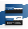 professional blue geometric business card design vector image vector image