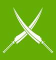 samurai swords icon green vector image vector image