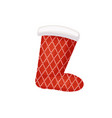 santa sock with pattern of cross over points vector image vector image