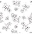 seamless botanical line art pattern background vector image