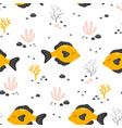 seamless pattern with cute fish isolated on white vector image vector image