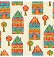 Seamless Pattern with Houses and Trees vector image