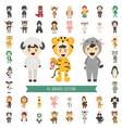 set 40 animal costume characters vector image