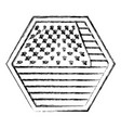 shield in hexagon shape with flag united states of vector image vector image