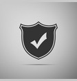 shield with check mark icon on grey background vector image