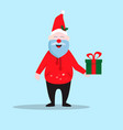smiling santa claus in a red hat holding christmas vector image vector image