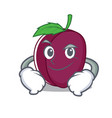 smirking plum character cartoon style vector image vector image