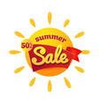 the yellow sun with text summer sale isolated on vector image