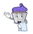waiter blueberry cupcake mascot cartoon vector image
