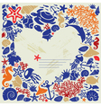 White background heart is surrounded of fishes vector image vector image