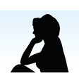 woman silhouette with hand gesture thinking vector image vector image