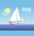 yacht in the sea on the background of the sunny vector image