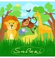 Cute african safari animals vector image
