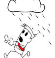Square guy running away from rain vector image