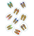 baby shoes sticker labels vector image vector image